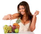Donna con frutta — Foto Stock