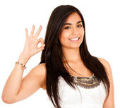 Woman making an ok sign with her hand — Stock Photo