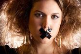 Kobieta wyciszony — Zdjęcie stockowe