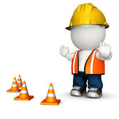 3D road worker — Stock Photo