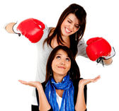 Woman getting punched — Stock Photo