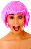 Surprised woman with a wig — Stock Photo