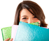 Student with notebooks — Stock Photo