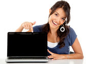Happy woman with laptop — Stock Photo