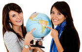 Women with a globe — Stock Photo