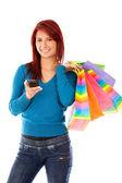 Shopping frau sms — Stockfoto