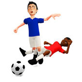 3D Football foul — Stock Photo