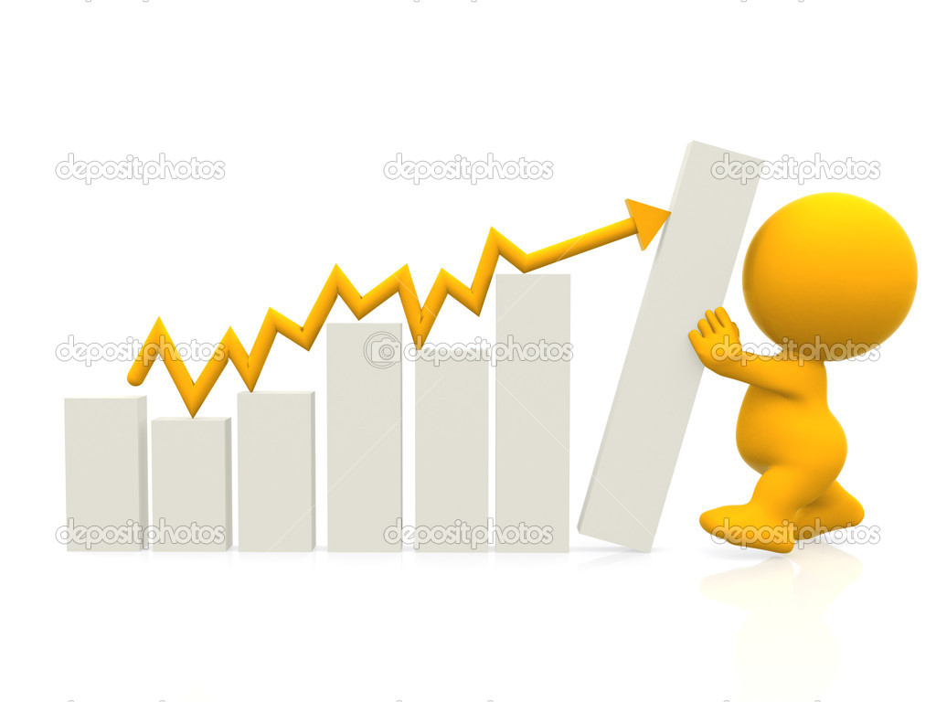3D man with hand on graph gradient isolated over a white background — Stock Photo #7750400