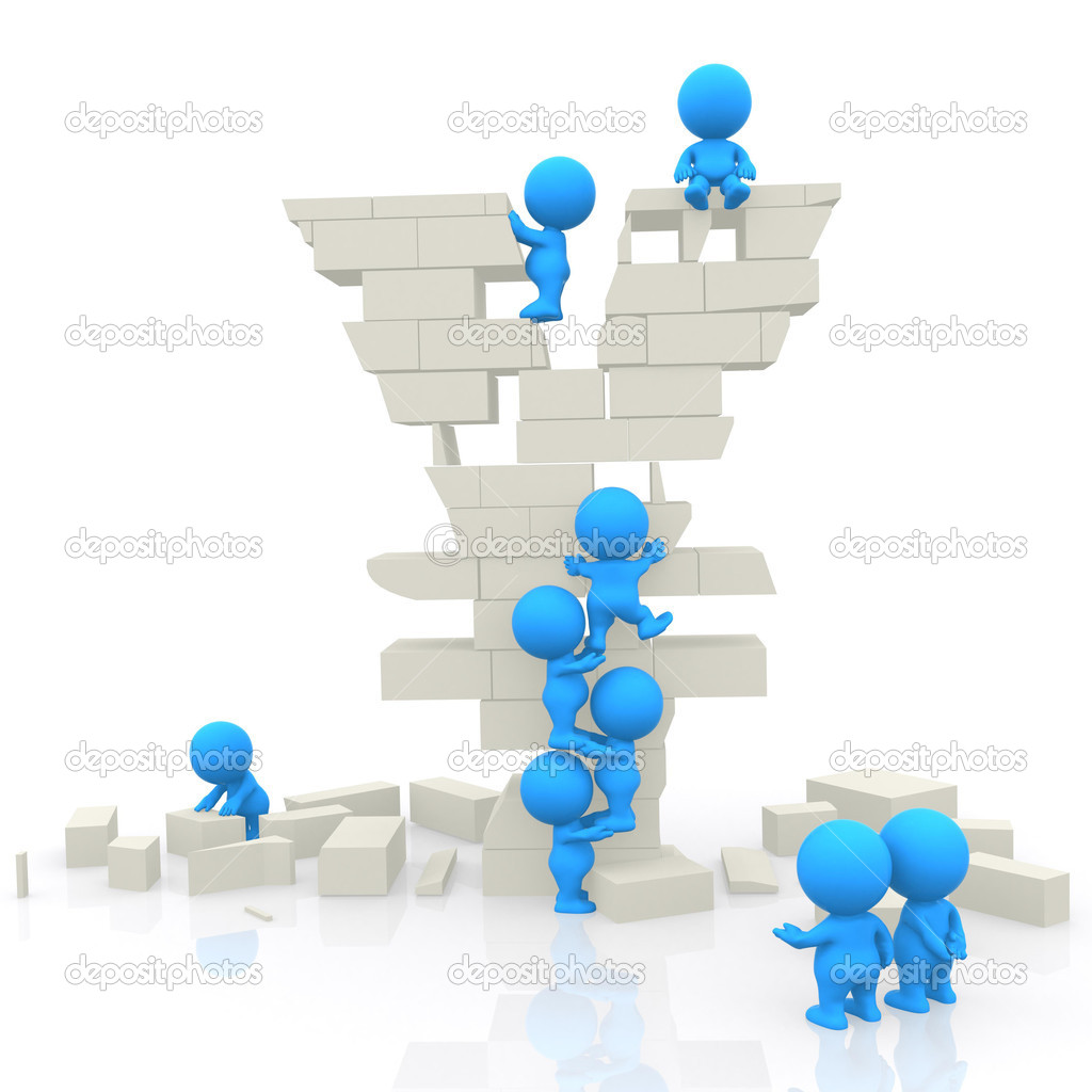 3D men assembling block yen isolated over white — Stock Photo #7750413