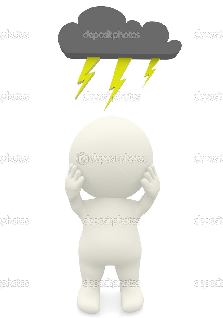 3D man having a bad day under a dark cloud isolated over a white background  Stock Photo #7750415
