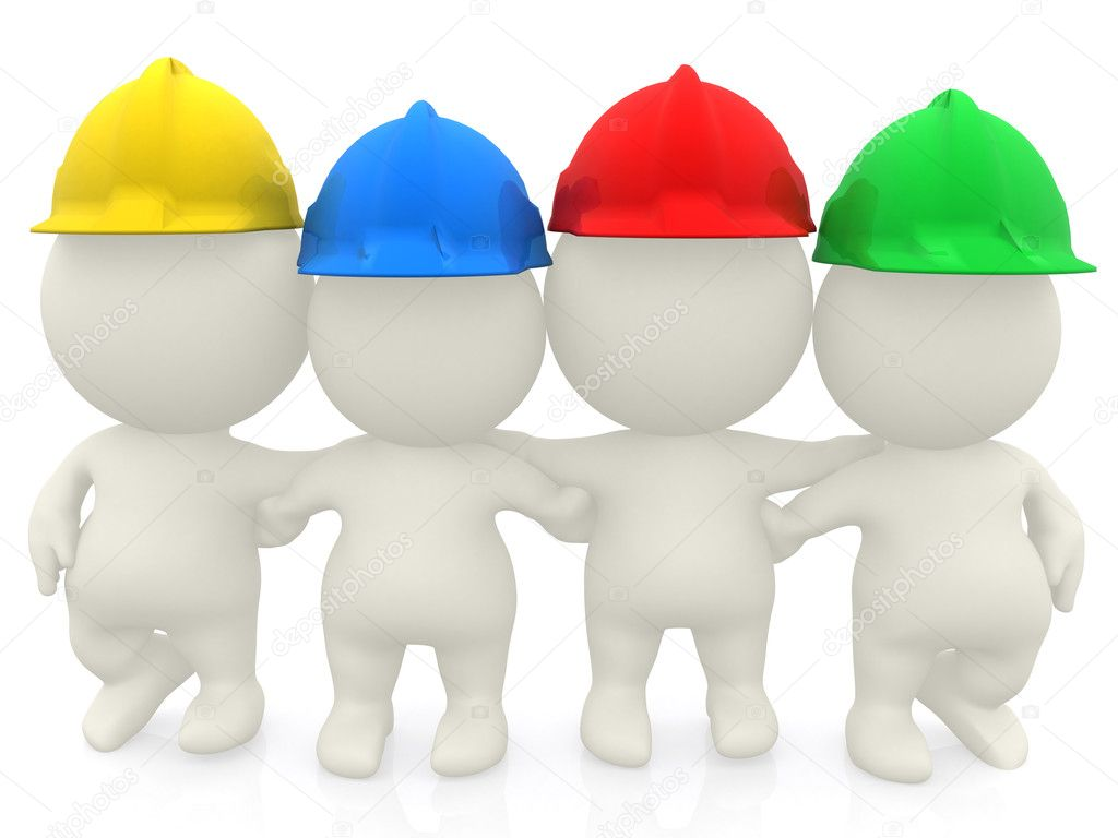 Group of 3D construction workers isolated over a white background  Stock Photo #7750559