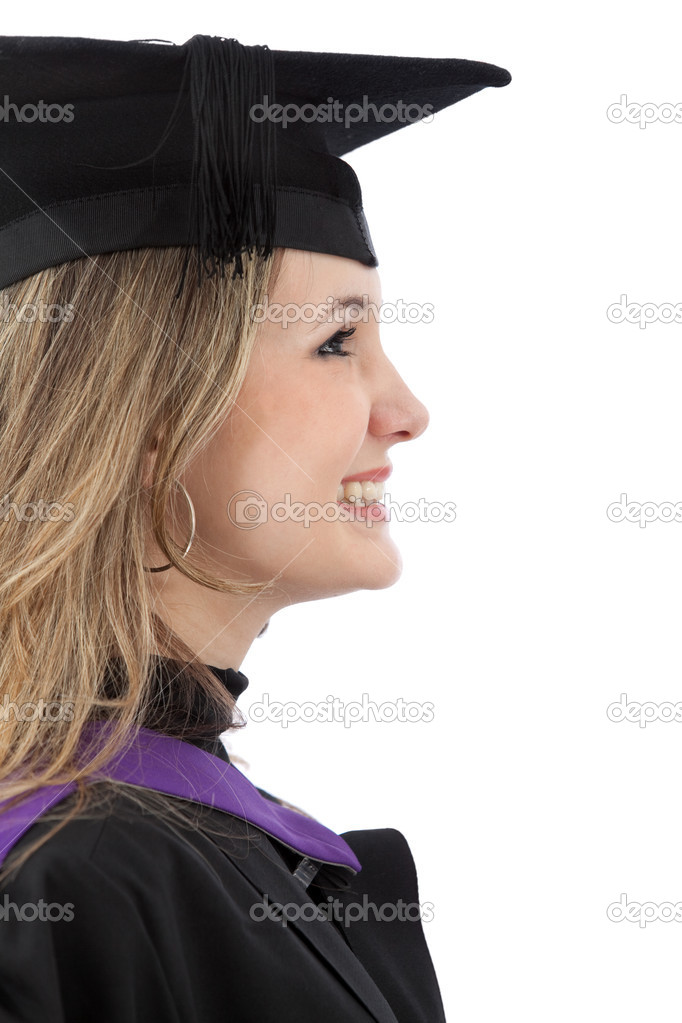 Graduation woman smiling isolated over a white background  Stock Photo #7750625