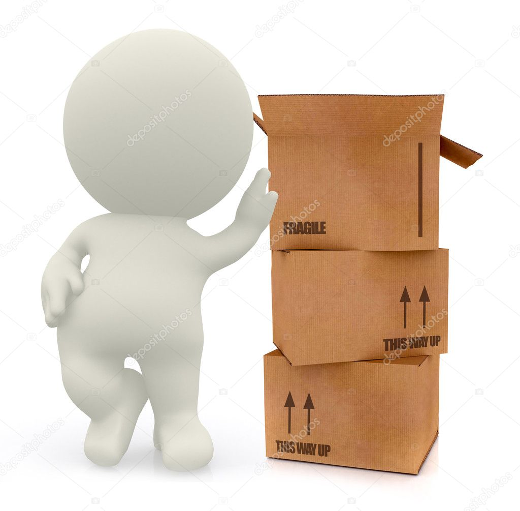 3D man with cardboard boxes in high detail isolated over a white background — Stock Photo #7750980