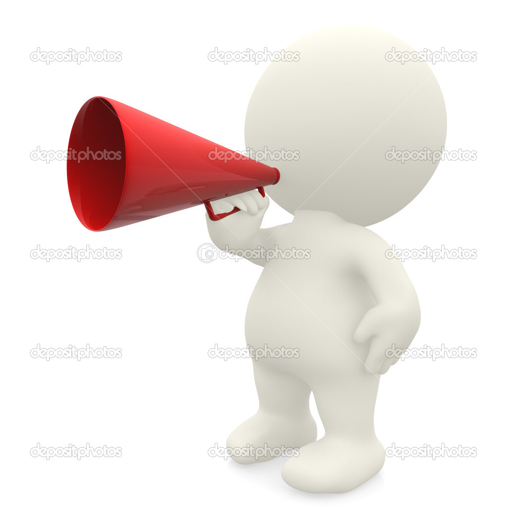 3D man giving an announcement isolated over white — Stock Photo #7751026