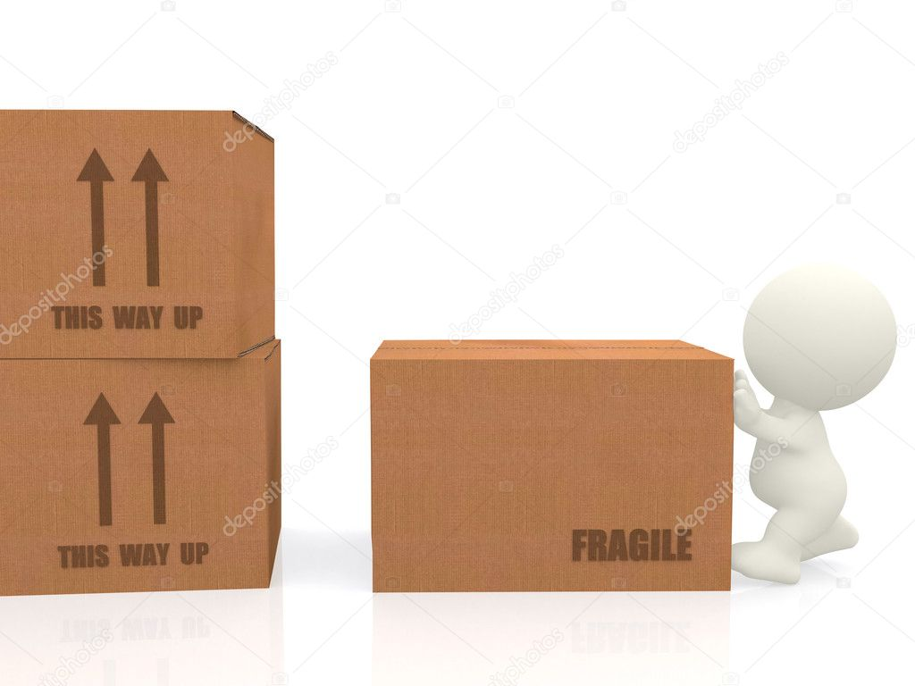 3d person moving boxes around - isolated over a white background — Stock Photo #7751369
