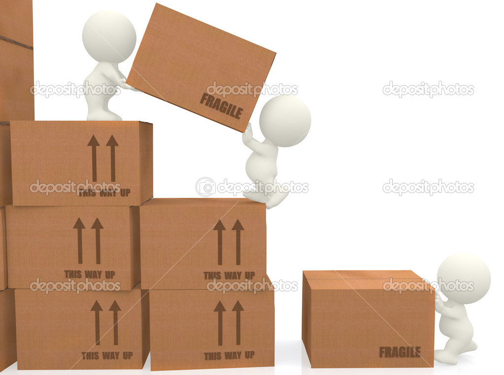 3d piling up boxes isolated over a white background — Stock Photo #7751382