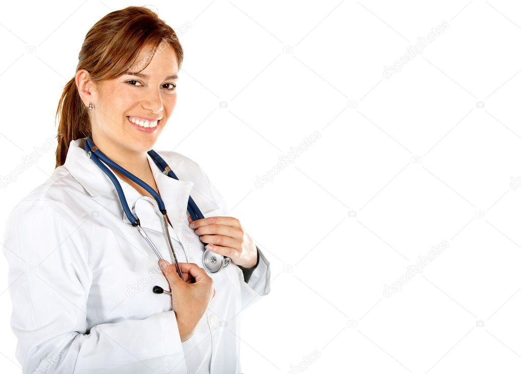Friendly female doctor smiling isolated over a hwite background  Stock Photo #7751740