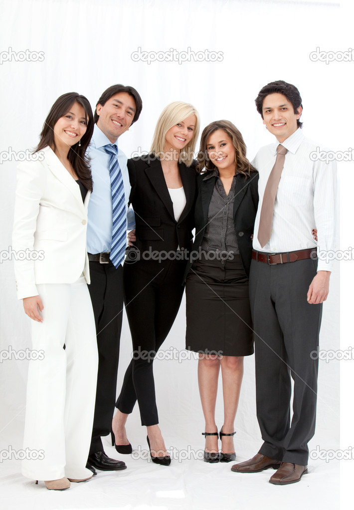 Happy group of business smiling over a white background — Stock Photo #7752803