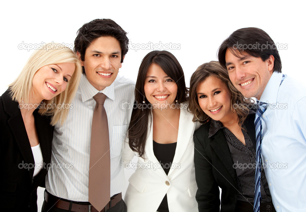 Group of business smiling isolated over a white background — Stock Photo #7753283