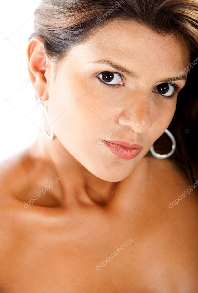 Beauty female portrait isolated over a white background  Stock Photo #7753345