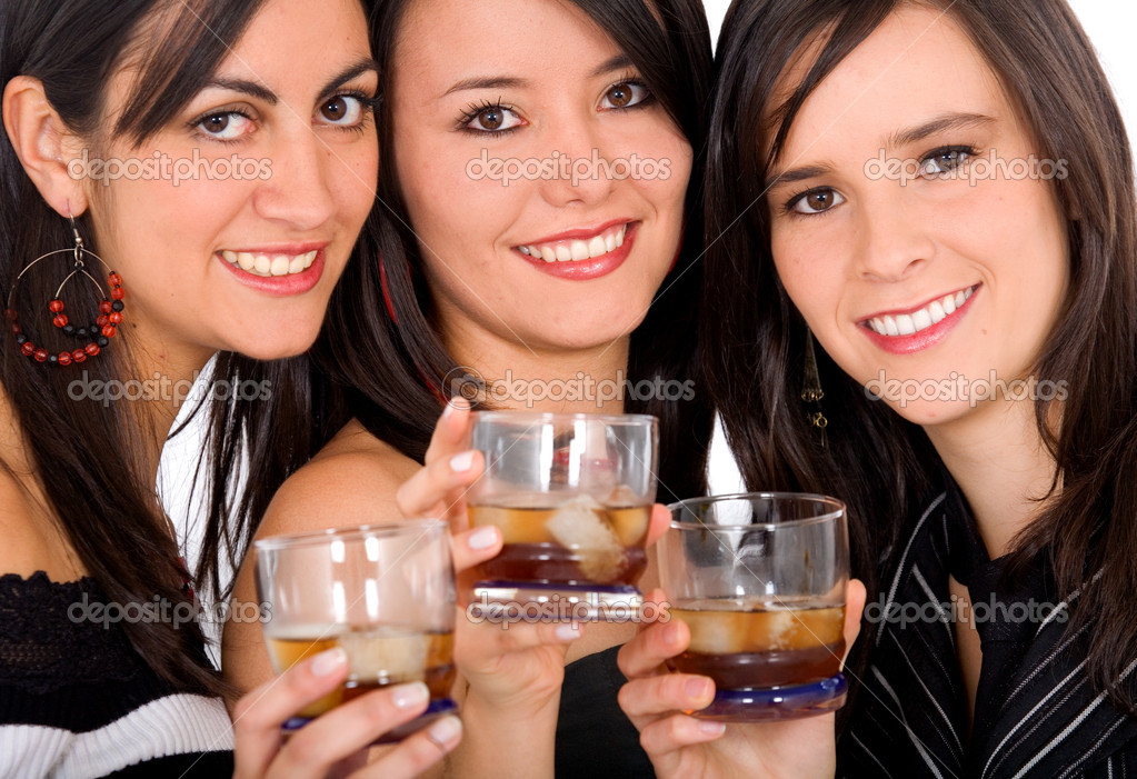 Girls drinking whiskey and having fun on a night out — Stock Photo #7753869