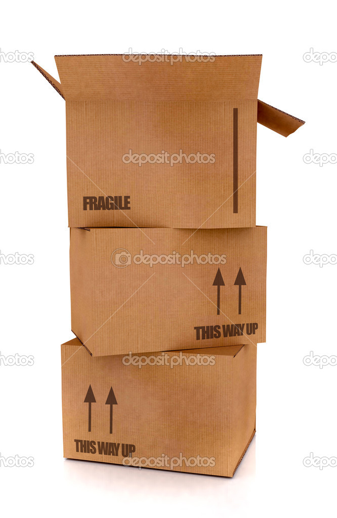 Cardboard boxes in high detail - isolated over a white background  Stock fotografie #7753899