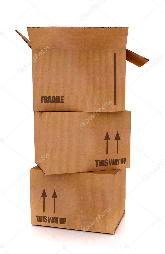 Cardboard boxes in high detail - isolated over a white background  Foto Stock #7753899