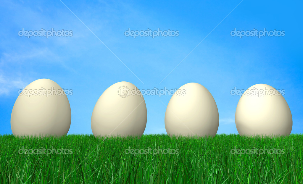 Easter eggs on the grass in front of a blue sky - 3d render illustration — Stock Photo #7753937