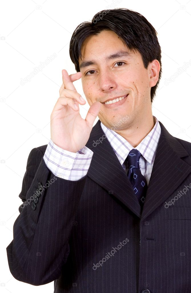 Business man with fingers crossed over a white background — Foto Stock #7753980