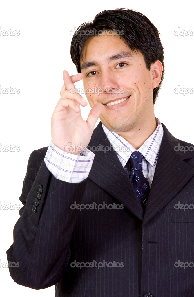 Business man with fingers crossed over a white background  Stockfoto #7753980