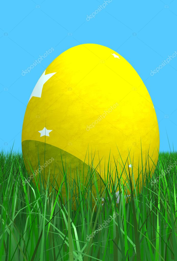 Easter egg in yellow on the grass with blue in the background - 3d render  Stock Photo #7754278