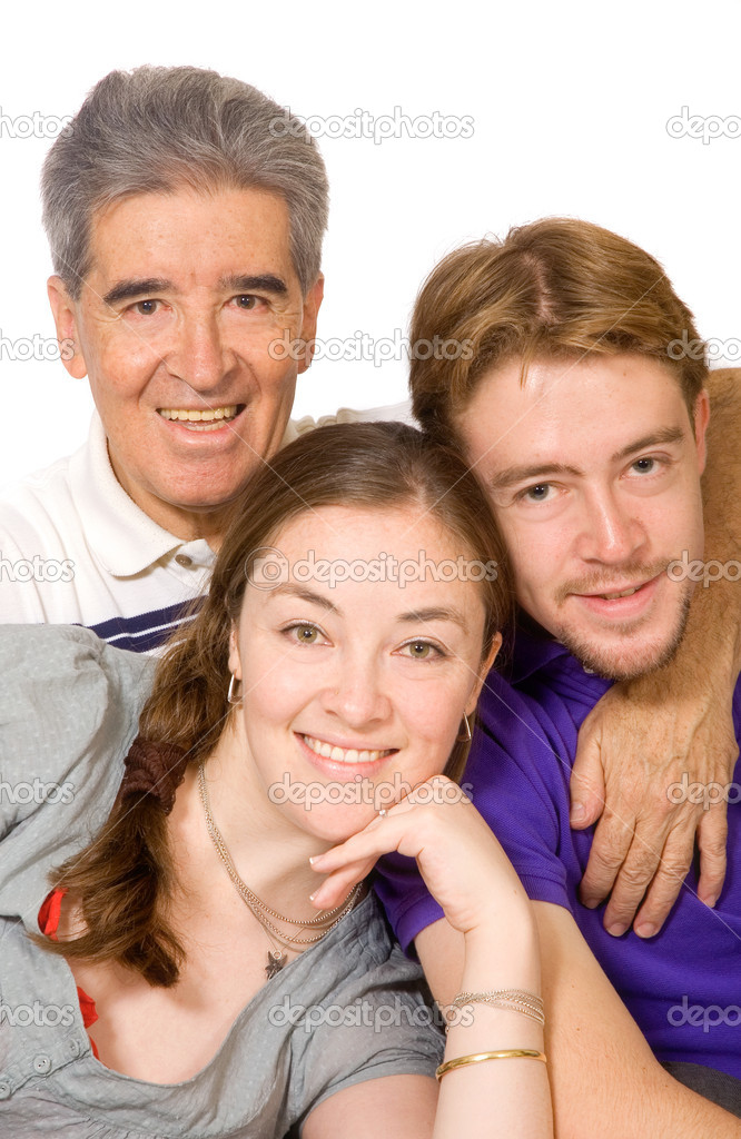 Caucasian and hispanic family portrait over a white background — Stok fotoğraf #7754284