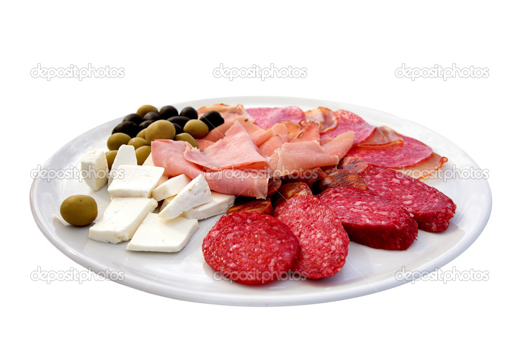 Various meat cheese and olives on a plate isolated  Stock Photo #7754467
