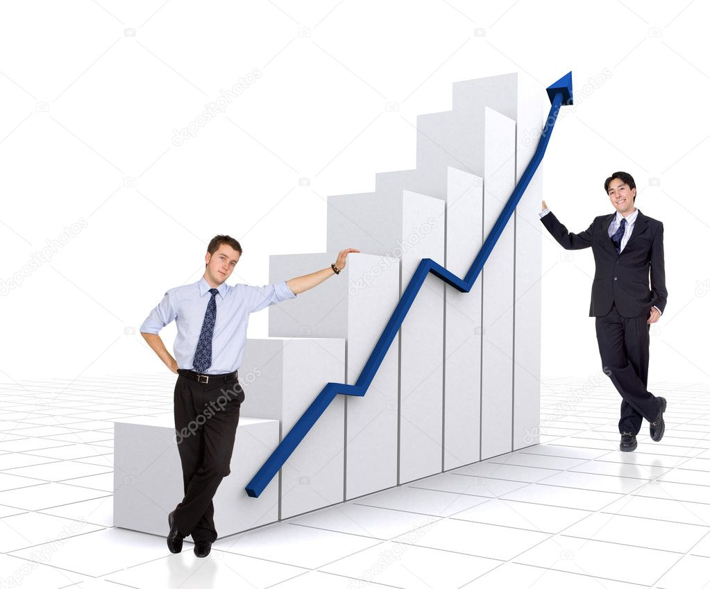 Business partners with a growth and success chart over a white background — Stock Photo #7754685