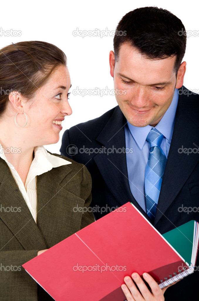 Business partners discussing work at the office over a white background  Stock Photo #7754690