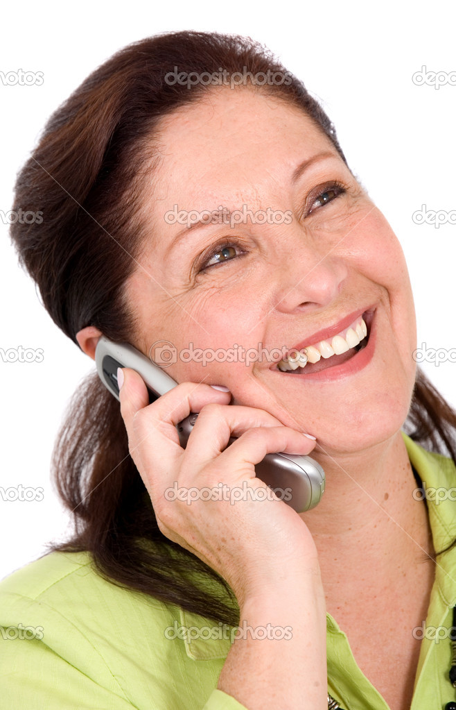 Happy business woman on the phone - isolated over a white background — Stock Photo #7754793