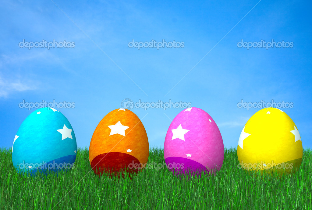 Colorful easter eggs on grass in front of a beautiful blue sky — Stock Photo #7754981