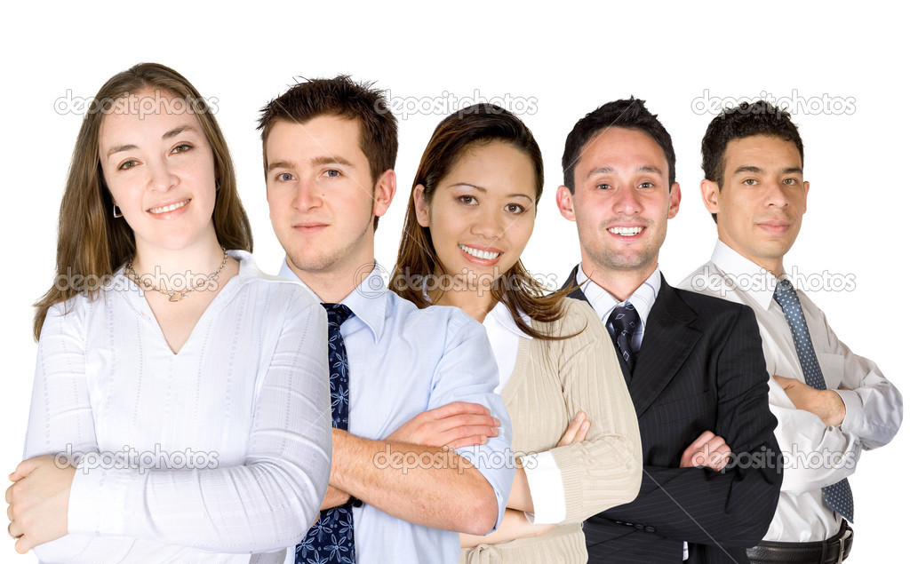 Confident business woman and her team over a white background — Stock Photo #7755104