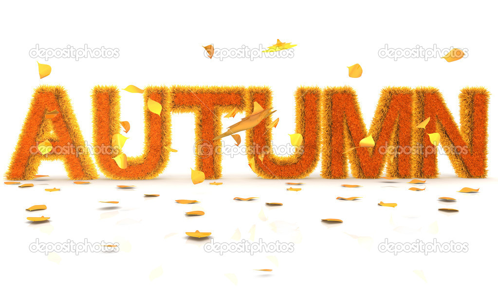 3D Word Autumn in orange grass texture with leaves around - isolated — Stock Photo #7755461