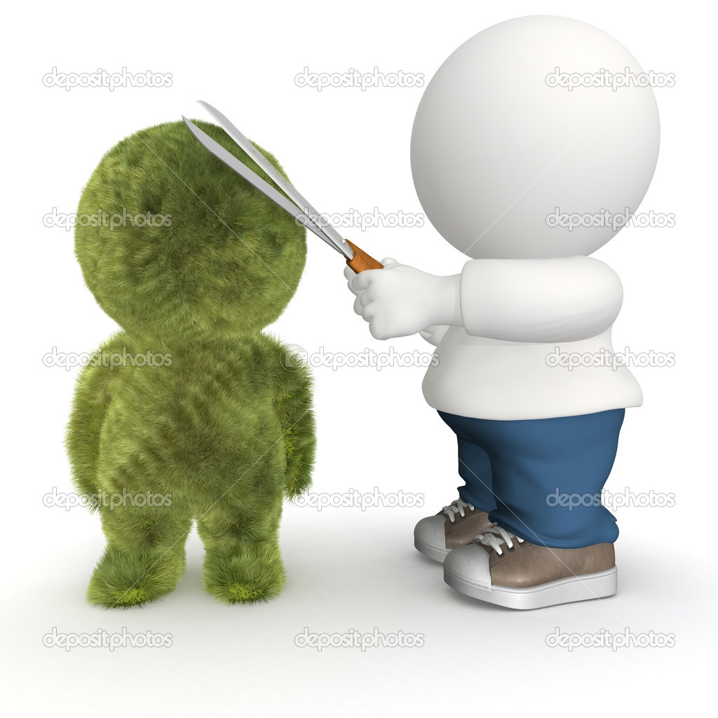 3D guy making a topiary with scissors - isolated over white — Stock Photo #7755463