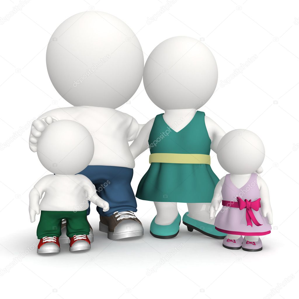 Happy family in 3D - isolated over a white background — Stock Photo #7755468