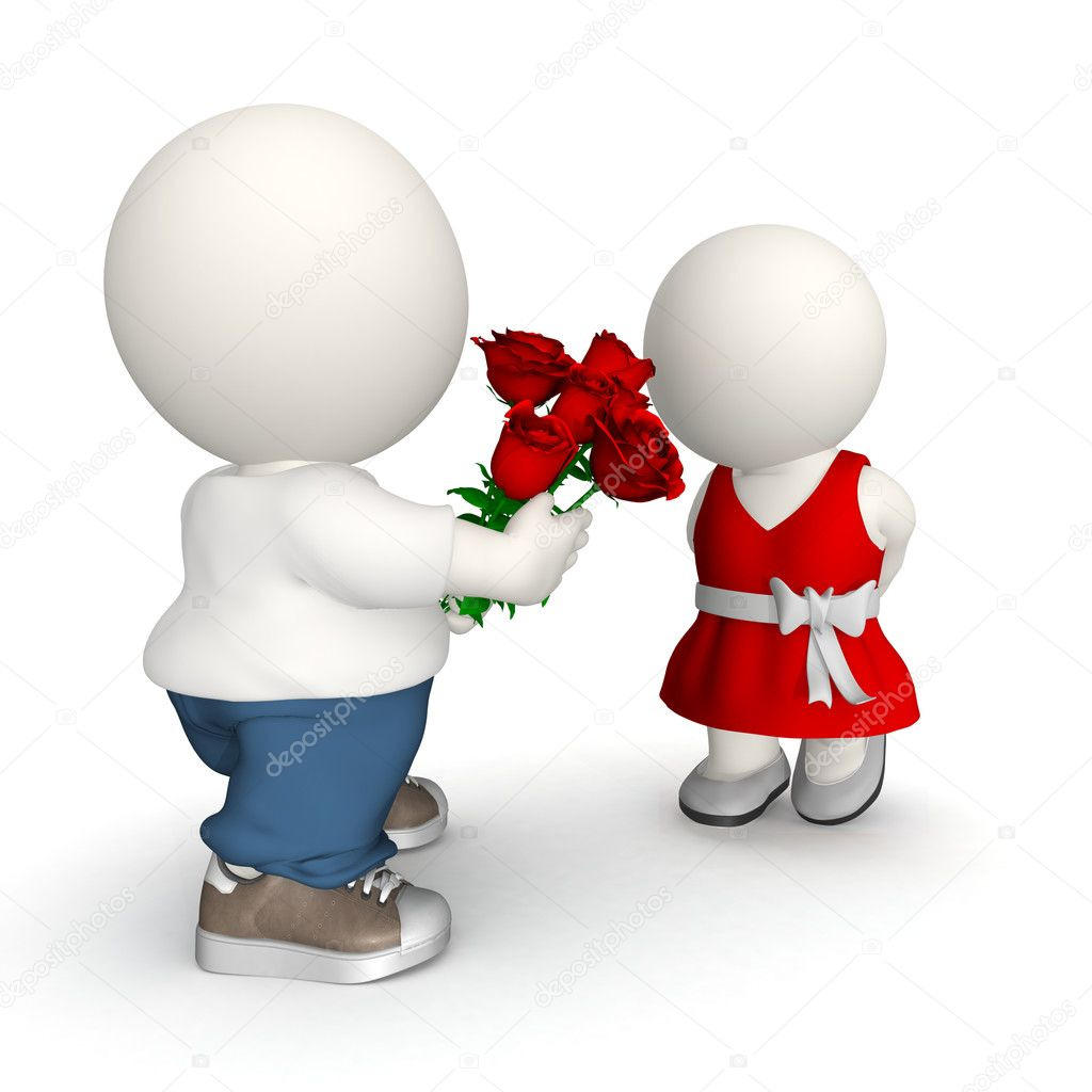 3D Man giving roses to his girlfriend on Valentine's day — Stock Photo #7755471