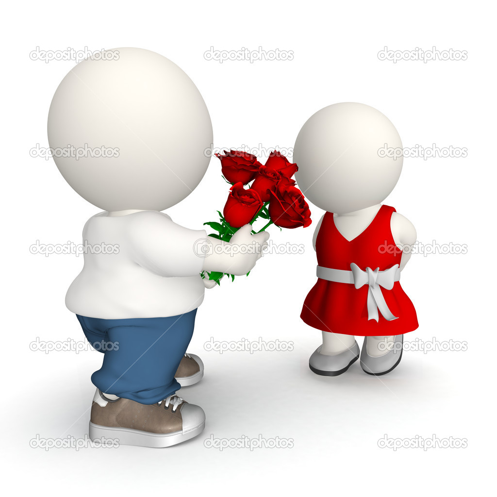 3D Man giving roses to his girlfriend on Valentine's day — Stockfoto #7755471