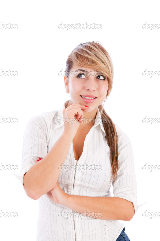 Pensive woman smiling - isolated over a white background — Stock Photo #7755915
