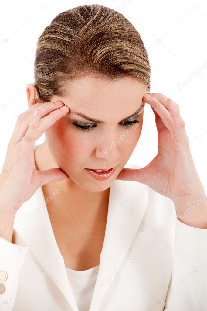 Stressed business woman - isolated over a white background — Stock fotografie #7756036