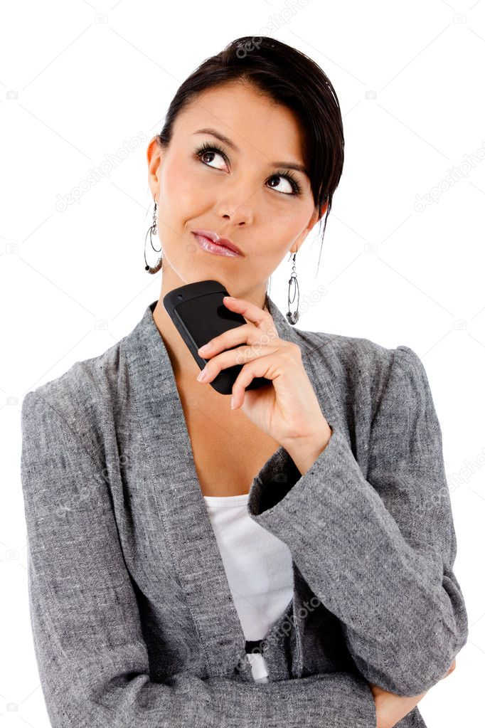 Thoughtful business woman - isolated over white  Stock Photo #7756322