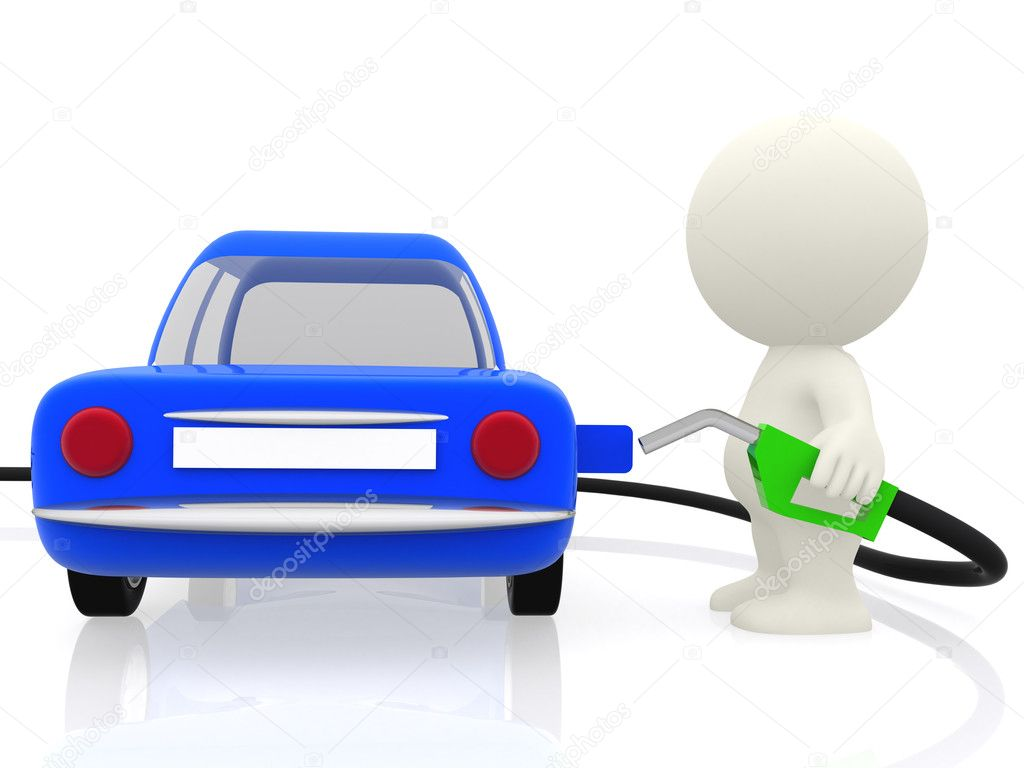 3D guy putting petrol on his car - isolated over white  Photo #7756475