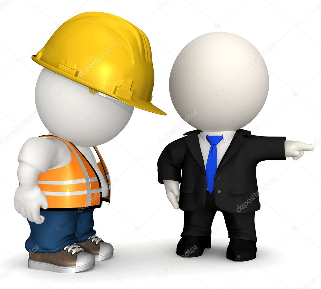 3D Business man firing a road worker  - isolated over a white background  Stock Photo #7756477