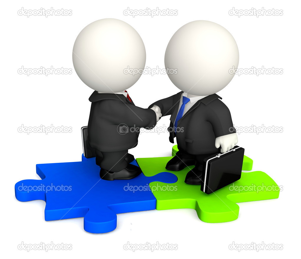 3D Business man handshaking and standing on a puzzle - isolated — Stock Photo #7756551