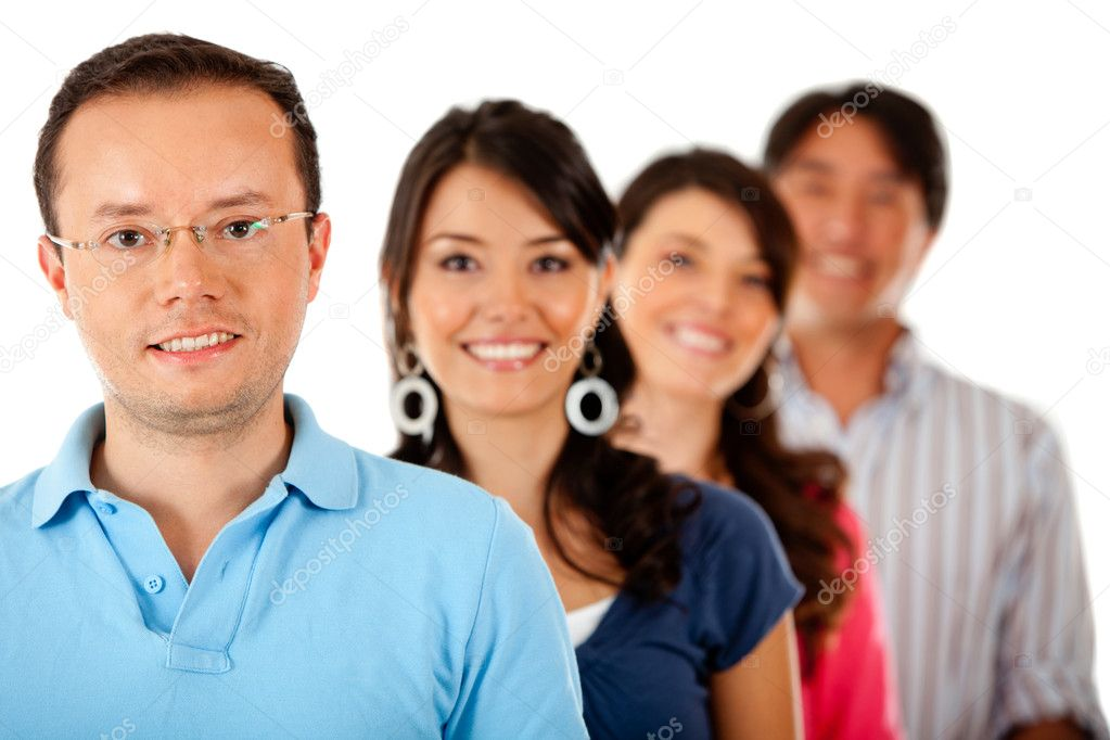 Group of young in a row, isolated over a white background  Stock Photo #7757073